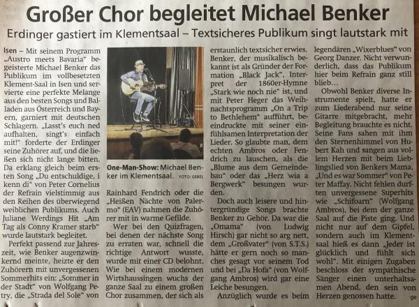 Zeitungsartikel im Merkur zum Konzert am 17.01.2020